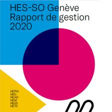 """Image de couverture - formes géométriques de couleurs avec titre """"rapport de gestion 2020"""" """"HES-SO Genève"""""""