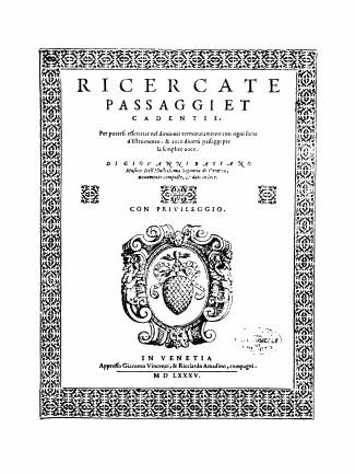 Bassano 1585 - page de garde