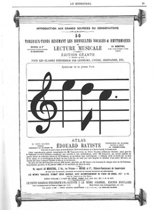 Édouard Batiste, 50 tableaux-types résumant les difficultés vocales et rhythmiques de lecture musicale. Atlas du Petit solfège théorique et pratique de Edouard Batiste, Paris, Heugel, 1865, 19ème tableau.