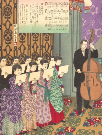 Détail « Concert of European Music » de Toyohara Chikanobu, Japan ©The Metropolitan Museum of Art (www.metmuseum.org)