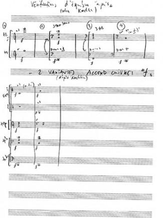 Partitions manuscrites liées au projet « Orchestration: entre réel et virtuel ».