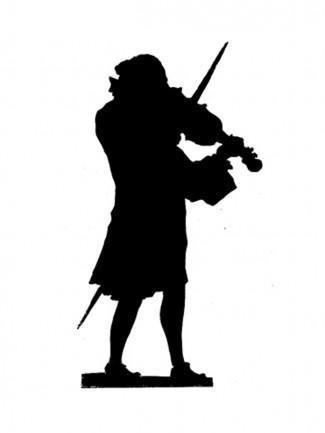 Silhouette d'un violoniste par Jean Huber, XVIIIème siècle.