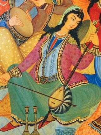 « Femme jouant le kamanche dans une peinture du Palace Hasht Behesht, Isfahan, 1669 ».