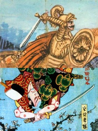 Peinture sur toile (toile de fond de l'Opera dei Pupi sicilienne, Anonyme XIX s., Catania) et gravure de Utagawa Toyokuni III, 1853 )