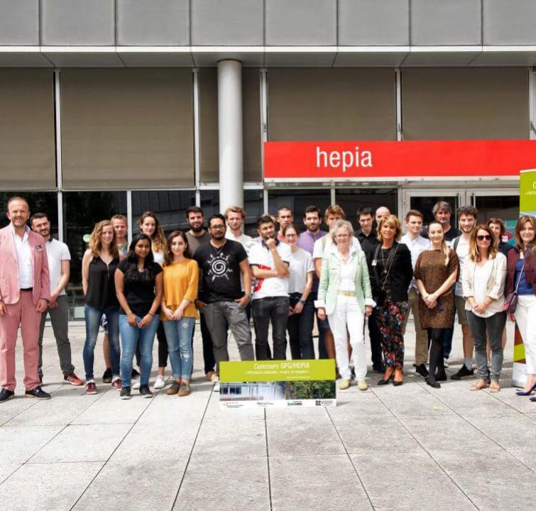 Les étudiants et les membres du jury du concours SPG HEPIA