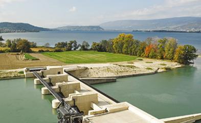 visuel de la centrale hydroélectrique de Hagneck