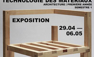 visuel de l'exposition représentant une assise en bois